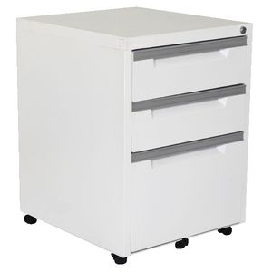 Steelco 3 Drawer Mobile Pedestal White Satin