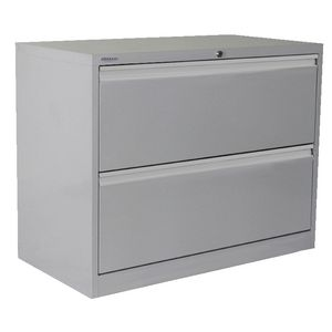 Steelco 2 Drawer Lateral Cabinet Silver Grey