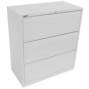 Steelco 3 Drawer Lateral Cabinet Silver Grey