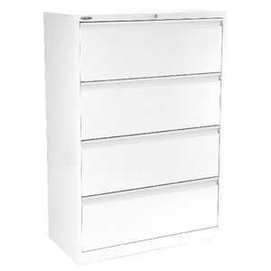 Steelco 4 Drawer Lateral Cabinet White Satin