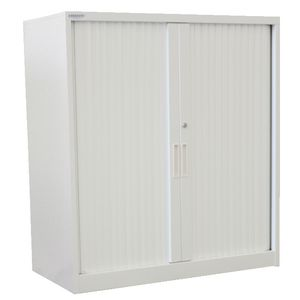Steelco Tambour Door Cupboard 1015 x 1200mm White Satin