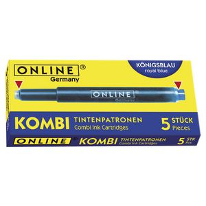 Online Kombi Dual Ended Ink Refill Blue 5 Pack