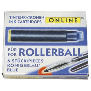 Online Rollerball Ink Refills Blue 6 Pack