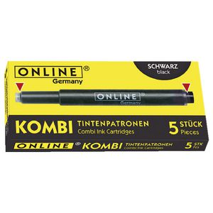 Online Kombi Dual Ended Ink Refill Black 5 Pack