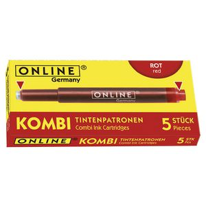 Online Kombi Dual Ended Ink Refill Red 5 Pack