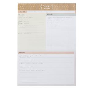 A4 Recipe Planner 50 Sheets Natural