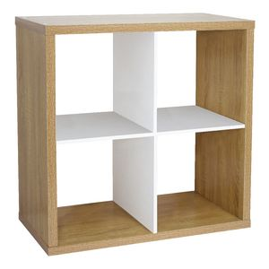 Horsens 4 Cube Bookcase Oak and White