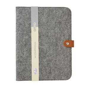 Otto A4 Felt Compendium with Button Closure Grey