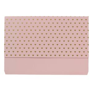Otto A4 Manila Document Wallet Gold Hearts