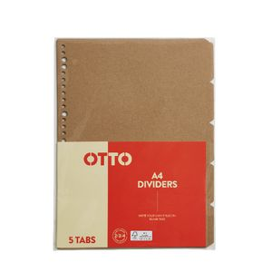 Otto Index Dividers A4 Kraft 5 Pack