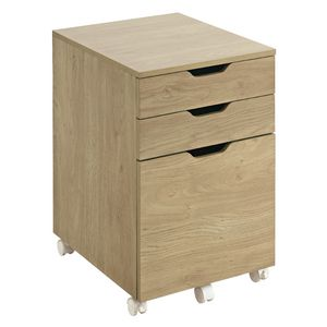 Linear 3 Drawer Mobile Pedestal Oak
