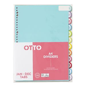 Otto A4 Index Dividers 12 Tab Jan-Dec