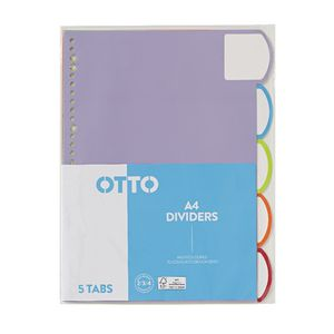 Otto A4 5 Tab Index Dividers Matte Laminate FSC
