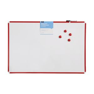 J.Burrows Premium Magnetic Plastic Whiteboard 90 x 60cm Red