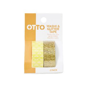 Otto Washi and Glitter Tape Yellow 2 Pack