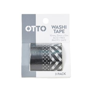 Otto Washi Tape Black and White 3 Pack