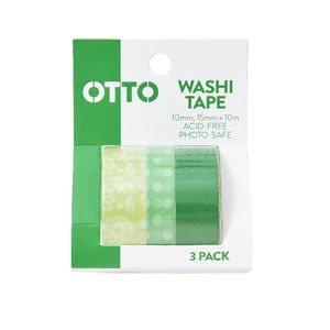 Otto Washi Tape Green 3 Pack