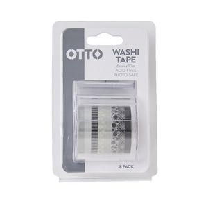 Otto Washi Tape Black and White 8 Pack