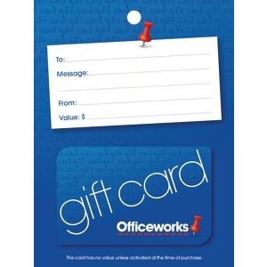 Officeworks Gift Card Blue Pin $100