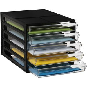 J.Burrows Desktop File Storage Organiser 5 Drawer Black