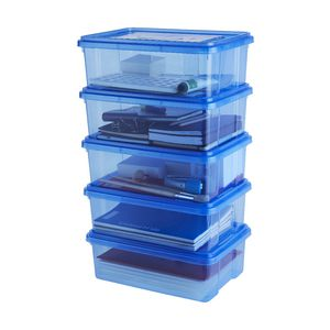 Ezy Storage 10L Storage Containers 5 Pack Blue