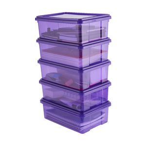 Ezy Storage 10L Storage Containers 5 Pack Purple