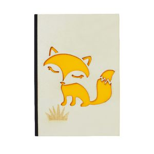 A6 Carved Wood Cover Notebook Fox