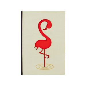 A6 Carved Wood Cover Notebook Flamingo