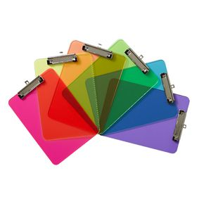 A4 Transparent Clipboard Assorted Neon Colours