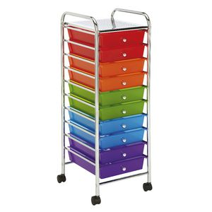 J.Burrows 10 Drawer Chrome Trolley Multi Colour Brights