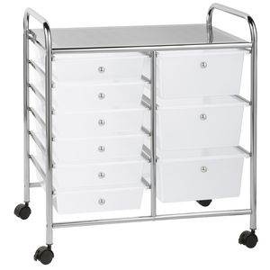 J.Burrows 9 Drawer Chrome Trolley Clear