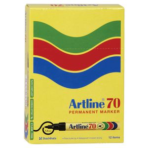 Artline 70 Permanent Markers Black 12 Pack
