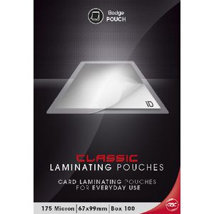 GBC Laminating Pouch 67 x 99mm 175 Micron Gloss 100 Pack