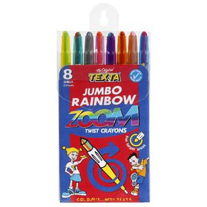 Texta Jumbo Rainbow Zoom Twistable Crayons 8 Pack