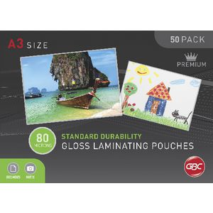 GBC Laminating Pouch 80micron A3 Gloss 50 Pack
