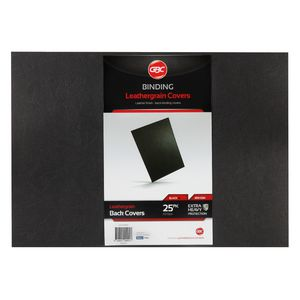GBC A3 Back Binding Cover Leathergrain Black 25 Pack
