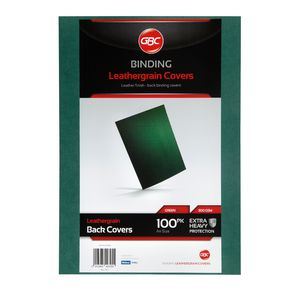 GBC Binding Cover A4 Leathergrain Green 100 Pack