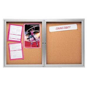 Quartet 2 Door Aluminium Lockable Corkboard 1200 x 900mm