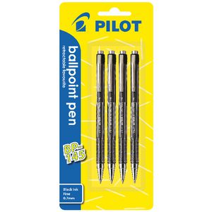 Pilot BP-145 Retractable Ballpoint Pen 0.7mm Black 4 Pack