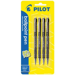 Pilot BP-145 Retractable Ballpoint Pen 1.0mm Black 4 Pack