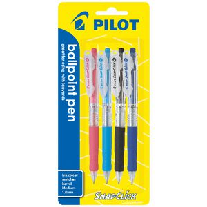Pilot Snapclick Retractable Ballpoint Pen 1.0 Assorted 4 Pack