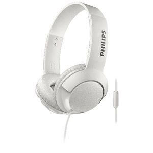 Philips Bass+ On Ear Earphones with Mic White