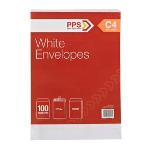 PPS Plainface C4 Envelopes White 100 Pack