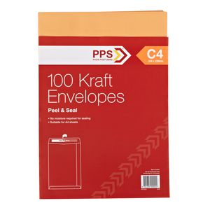 PPS Plainface C4 Envelopes Kraft 100 Pack