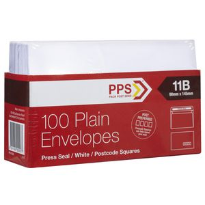 PPS Plainface 11B Envelopes White 100 Pack