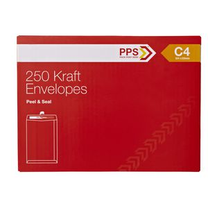 PPS Plainface C4 Envelopes Kraft 250 Pack