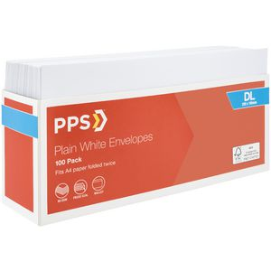 PPS Plainface DL Envelopes White 100 Pack