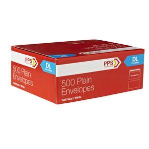 PPS Plainface DL White Envelopes 500 Pack