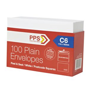 PPS Plainface C6 Envelopes White 100 Pack