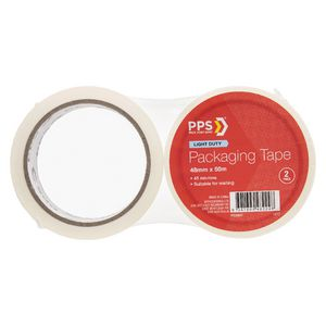 PPS 48mm x 50m Mailing Packaging Tape Clear 2 Pack